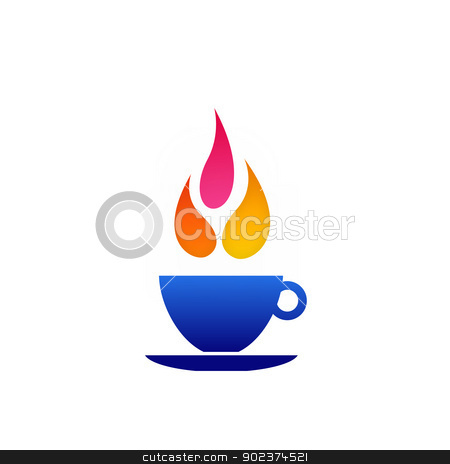 Flame coffee logo stock vector clipart, 	Flame coffee logo by DoReMe