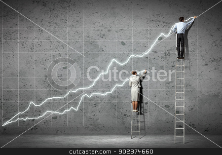 businesspeople drawing diagrams on wall stock photo, businesspeople standing on ladder drawing diagrams and graphs on wall by Sergey Nivens