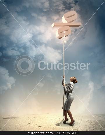 Image of businesswoman climbing the rope stock photo, Image of businesswoman climbing the rope attached to percentage sign by Sergey Nivens