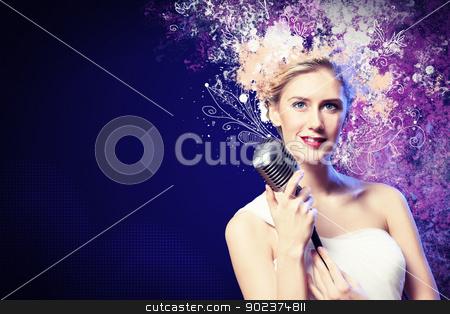 Image of female singer stock photo, Image of female singer holding microphone against illustration background by Sergey Nivens