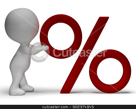 Percent Sign With 3d Man Showing Percentage Or Reductions stock photo, Percent Sign With 3d Man Climbing Showing Percentage by stuartmiles
