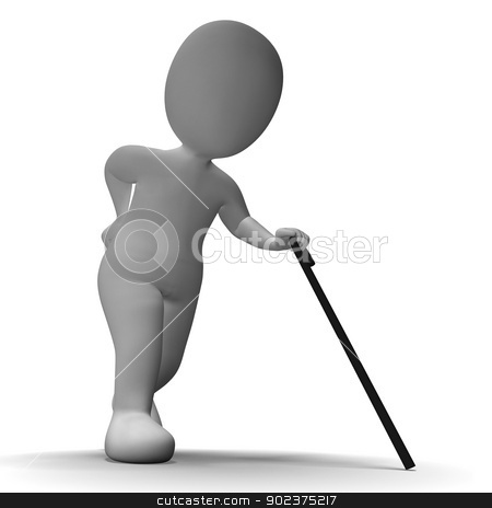 Old Man With Walking Stick Shows Aged 3d Character stock photo, Old Man With Walking Stick Showing Aged 3d Character by stuartmiles