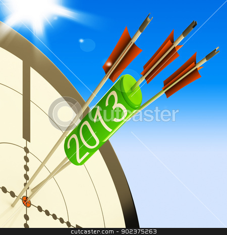 2013 Target Shows Future Planned Projection stock photo, 2013 Target Showing Future Planned Growth Projection by stuartmiles