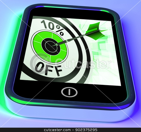 10 Percent Off On Smartphone Shows Sales stock photo, 10 Percent Off On Smartphone Shows Sales And Price Bonuses by stuartmiles