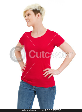 Cute happy female with blank red shirt stock photo, Young beautiful blond female with blank red shirt. Ready for your design or artwork.  by © Ron Sumners