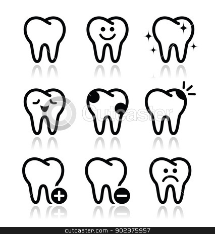 Tooth , teeth vector icons set  stock vector clipart, Stomatology, dentist concept - tooth icons set in black and white with reflection isolated on white by Agnieszka Murphy