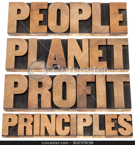 people, planet, profit, principles  stock photo, people, planet, profit, principles - sustainable business concept - isolated text in letterpress wood type printing blocks by Marek Uliasz