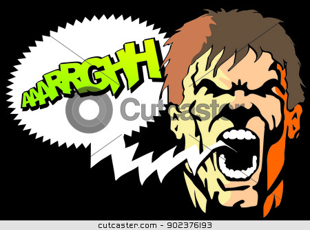 Man throwing a shout - Comic stock vector clipart, Bubble speech with text arghhh written. Comic style illustration of an angry man screaming with his mouth open. by PhotoEstelar