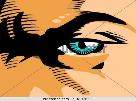 Frowning gaze - Comic stock vector clipart, Man with angry look and frown. Illustration in comic style of a man's eye in the close-up. by PhotoEstelar