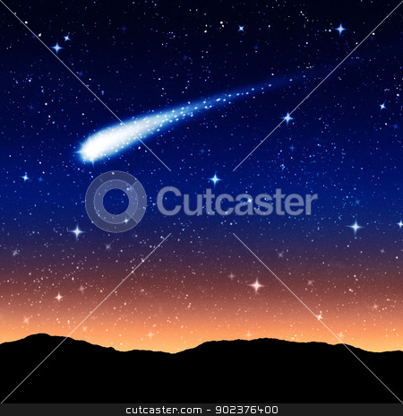 starry sky at night stock photo, starry sky at night with comet or shooting star by Phil Morley