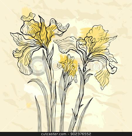 Iris flower vector illustration. stock photo, Floral background. Hand drawn flowers. Vector illustration. by Katyau