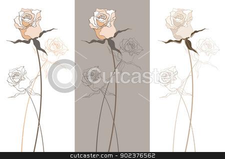 Vintage beautiful rose stock photo, Vintage Beautiful rose set. Vector illustration isolated by Katyau