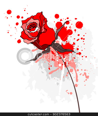 Grunge red rose on a white background stock photo, Grunge Beautiful red rose. Vector illustration isolated by Katyau