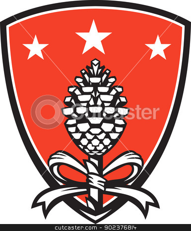 Thyrsus Pine Cone Staff Leaves Retro stock vector clipart, Illustration of a Thyrsus a staff of giant fennel topped with pine cone and ribbon set inside shield done in retro style. by patrimonio
