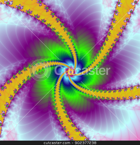 Whirligig stock photo, Digital abstract fractal image with a spiral whirligig design in yellow, green and blue. by Colin Forrest