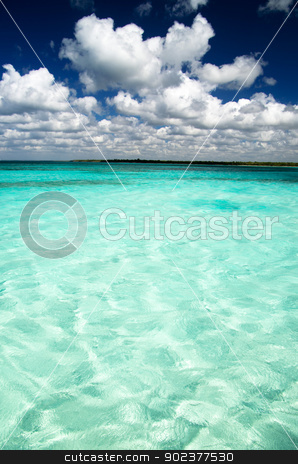 sea  stock photo, beautiful blue caribbean sea water by Vitaliy Pakhnyushchyy