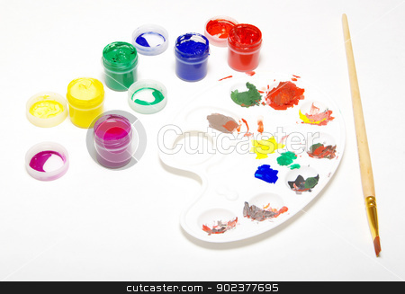 brushes stock photo, Palette with different colors isolated on white by Vitaliy Pakhnyushchyy