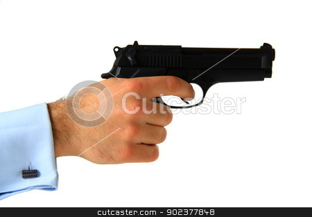 business man holding pistol stock photo, business man holding pistol on isolated white background by melih turhanlar