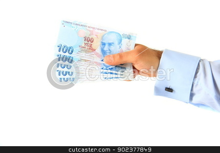 business man holding turkish lira stock photo, business man holding hundred turkish lira by melih turhanlar