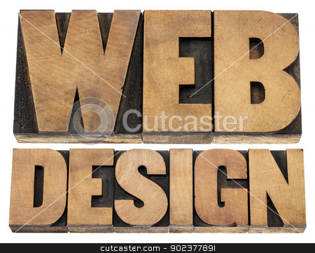 web design letterpress wood type stock photo, web design  - isolated text in letterpress wood type printing blocks by Marek Uliasz