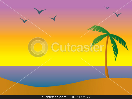 Island Beach Sundown stock vector clipart, A beach in a tropical setting during sundown or sunrise. by Jamie Slavy