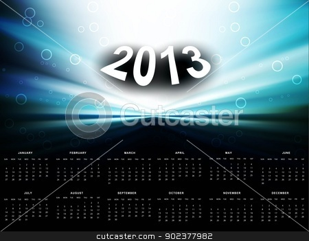 2013 calendar bright colorful blue wave vector background stock vector clipart, 2013 calendar bright colorful blue wave vector background by bharat pandey