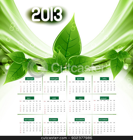 2013 calendar eco natural green lives stylish vector wave stock vector clipart, 2013 calendar eco natural green lives stylish vector wave by bharat pandey