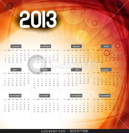 2013 calendar colorful wave vector design illustration stock vector clipart, 2013 calendar colorful wave vector design illustration by bharat pandey