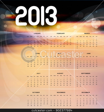 2013 calendar bright colorful vector design illustration stock vector clipart, 2013 calendar bright colorful vector design illustration by bharat pandey