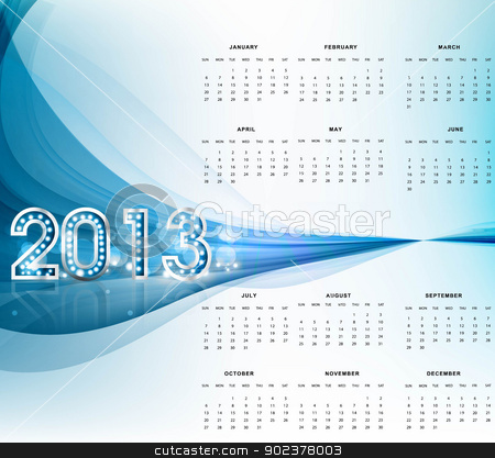 2013 calendar bright blue wave new year colorful vector stock vector clipart, 2013 calendar bright blue wave new year colorful vector background by bharat pandey