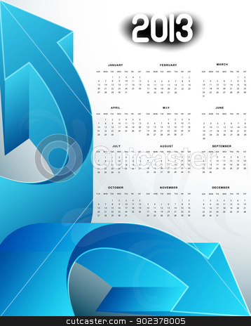 2013 calendar blue arrow new year colorful vector stock vector clipart, 2013 calendar blue arrow new year colorful vector design by bharat pandey