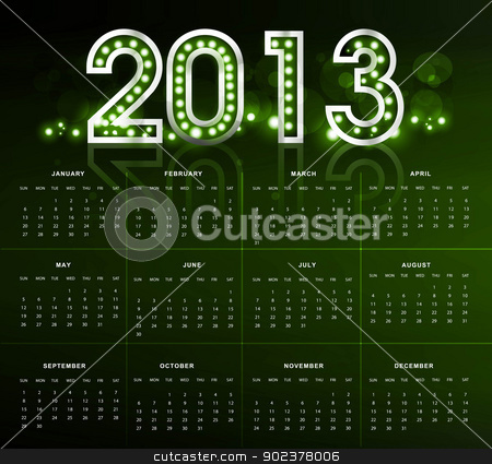 2013 calendar bright green new year colorful vector  stock vector clipart, 2013 calendar bright green new year colorful vector  by bharat pandey