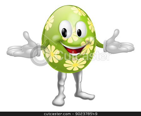 Easter Egg Man stock vector clipart, An illustration of a happy fun cartoon Easter egg mascot character  by Christos Georghiou