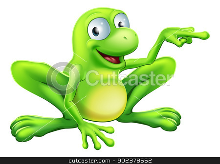 Frog pointing illustration stock vector clipart, An illustration of a cute green happy frog character pointing or showing something  by Christos Georghiou