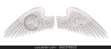 Wings illustration stock vector clipart, An illustration of a pair of beautiful white spread wings. by Christos Georghiou