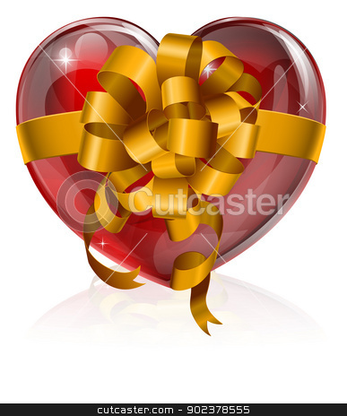 Heart bow gift concept stock vector clipart, Heart bow gift concept, illustration of a heart with a gift ribbon bow round it. Concept for love, giving your heart, or similar. by Christos Georghiou