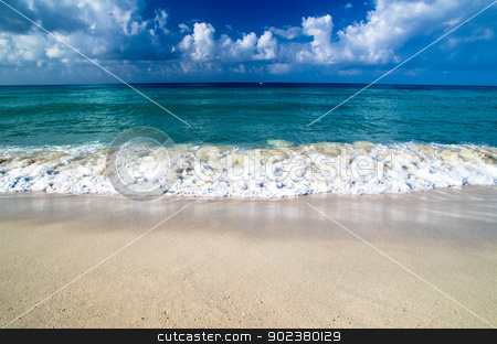 caribbean sea  stock photo, beautiful blue caribbean sea beach by Vitaliy Pakhnyushchyy
