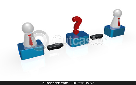 consultation stock photo, simple token figures with tie and question mark in a row - 3d illustration by J?