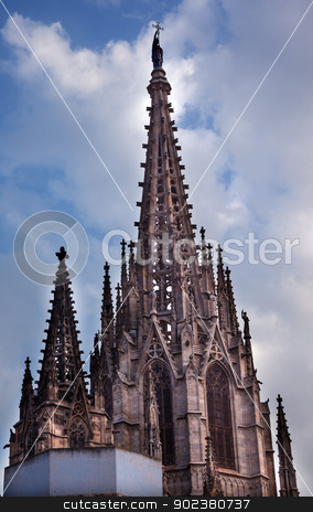 Gothic Catholic Cathedral Barcelona Catalonia Spain stock photo, Gothic Catholic Cathedral Barcelona Catalonia Spain.  Built in 1298.  This is the main spire. by William Perry