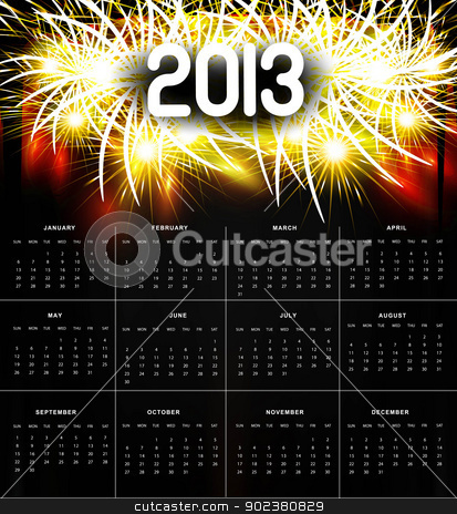 2013 calendar black bright celebration colorful vector design  stock vector clipart, 2013 calendar black bright celebration colorful vector design  by bharat pandey