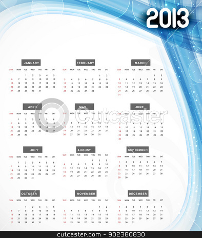 2013 calendar blue wave colorful vector background stock vector clipart, 2013 calendar blue wave colorful vector background by bharat pandey
