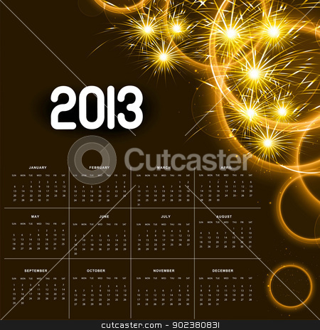 2013 calendar golden bright celebration colorful vector  stock vector clipart, 2013 calendar golden bright celebration colorful vector  by bharat pandey
