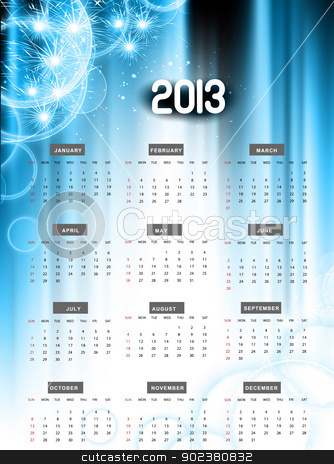 2013 calendar blue shiny celebration colorful vector  stock vector clipart, 2013 calendar blue shiny celebration colorful vector  illustration by bharat pandey