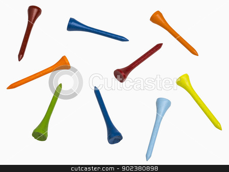 Colorful Golf Tees stock photo, Colorful golf tees isolated on white, includes clipping paths by Bryan Mullennix