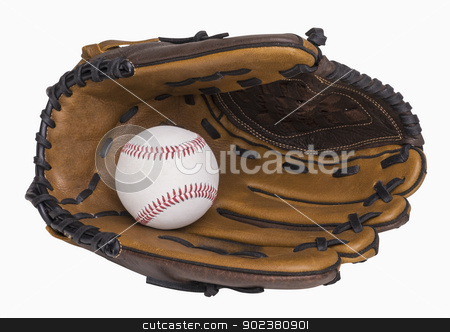 Baseball and Glove stock photo, Baseball and baseball glove isolated on white, includes clipping path by Bryan Mullennix