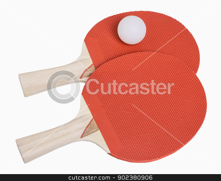 Ping Pong Paddles and Ball stock photo, Ping Pong paddles and ball isolated on white, includes clipping path by Bryan Mullennix