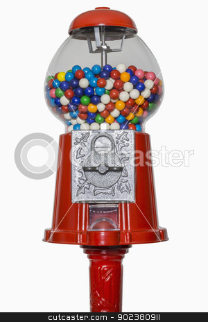 Gumball Machine stock photo, Gumball machine isolated on white, includes clipping path by Bryan Mullennix