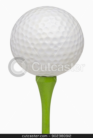 Golfball on Tee stock photo, Golfball on tee, isolated on white, includes clipping path by Bryan Mullennix
