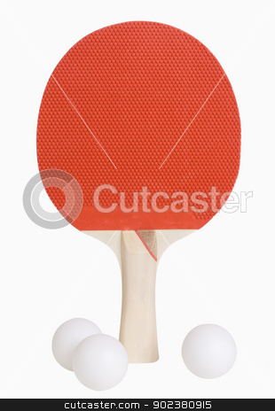 Ping Pong Paddle and Balls stock photo, Ping Pong paddle and balls isolated on white, includes clipping paths by Bryan Mullennix