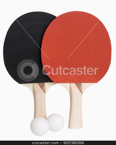 Ping Pong Paddles and Ball stock photo, Ping Pong paddles and balls isolated on white, includes clipping path by Bryan Mullennix
